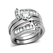 Women's Wedding Rings 2.75 Ct CZ Stainless Steel Bridal Engagement Set Size 5-10