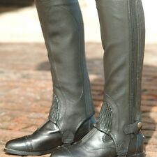 Ovation Ribbed Top Grain Leather Half Chaps - Adult - Black  - All Sizes