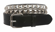 Snap On Two Row Punk Rock Star Metal Silver Studded Leather Belt