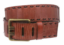 Snap On Oil Tanned Vintage Rectangular Buckle Genuine Leather Belt