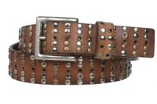 "1 1/2"" Cowhide Multi Metal Circle Studded Vintage Oil Tanned Leather Belt"