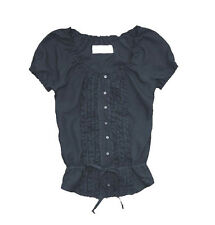 Abercrombie Fitch Womens Navy Blue Silk Top Shirt Blouse