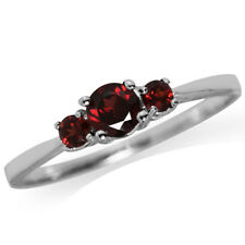 3-Stone Natural Garnet 925 Sterling Silver Ring