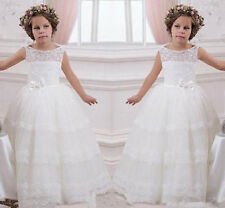 Puffed dress white Wedding Formal Flower Girl Dress Pageant Fluffy Ivory lace