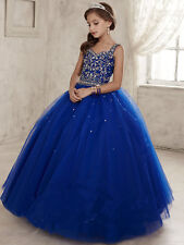 Princess Flower Girl Dresses Wedding Party peagant customize function party blue