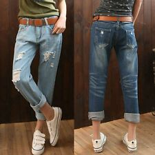 Women Distressed Blue Denim Mid-Rise Slim Skinny Jeans Pants Trousers