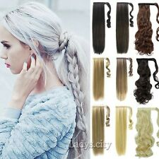 Clip In Hair Extensions New Thick Ponytail Wrap Around Pony Tail Gray Blonde F5x