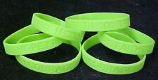 Lime Green Awareness Bracelets 6 Piece Lot Silicone Wristband Cancer Cause New