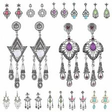 Vintage Woman Bohemian Geometric Rhinestone Drop Chandelier Dangle Long Earrings