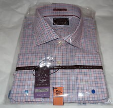 M&S Sartorial pink mix check shirt size 18.5in collar nwt