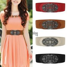 Women Metal Flower Elastic Stretch Buckle Vintage Wide Waist Belt Waistband