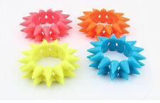 Punk Style Double Rows Resin Studs Spike Rivets Elastic Stretch Bracelet