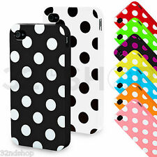 NEW STYLISH POLKA DOTS CASE COVER FITS IPHONE 4 4S FREE STYLUS SCREEN PROTECTOR