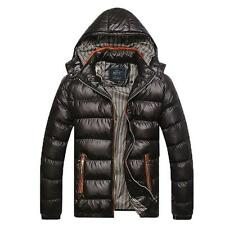 New  Mens Winter Warm Hooded Padded Coat Cotton Coat Zip Thick Down Jacket Parka