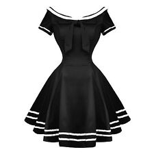 Hearts and Roses London Black Rockabilly 50s Pinup Sailor Mini Dress UK