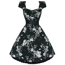Ladies Womens New Black White Floral 50s Vtg Rockabilly Swing Party Prom Dress U