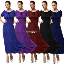 Womens Ladies New Tight Sexy Solid dress /Short Sleeve Bohemian Long Maxi Dress