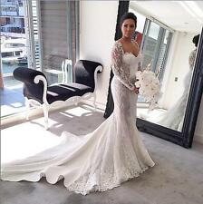 Wedding Bridal Gown Long Sleeve Mermaid Lace White Ivory Dress Custom Size Sexy