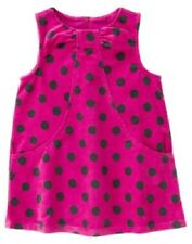 NWT Gymboree Merry and Bright Pink Velvet Polka Dot Dress 6-12-18-24 M & 2T
