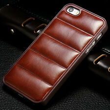 Luxury Leather Fitted PC Back Cover Case For Apple iPhone 4 4S 5 5S SE 6 6S Plus