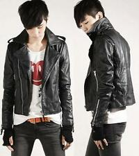 New Fashion Men's Designed PU Leather Short Slim Fit Top Jacket Coat Outerwear R