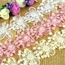 1m Flower Pearl Lace Trim Wedding Bridal Applique Sewing Craft Pink White L108