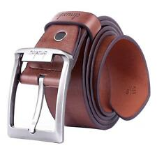 New Fashion Genuine Leather Waistband Mens Pin Metal Buckle Waist Strap Belt Top