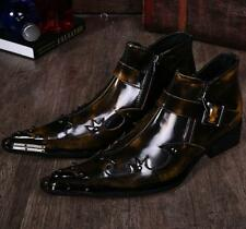 Mens Pointy Toe  Side Zipper Punk Rock Cuban Heel  Ankle Boots Shoes Size