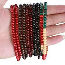 Women Men Multilayer Rope Wooden Beaded Bangle Braided Elastic Bracelet Hot