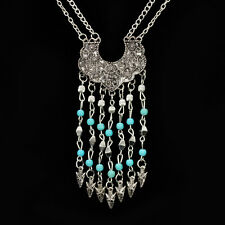 Womens Vintage Turquoise Tassel Charms Long necklace Sweater Chain sale