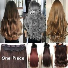 1Pcs Real Thick 5 Clips Clip In 3/4 Full Head Hair Extensions Brown Blonde TI9