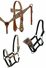 WESTERN HORSE LEATHER BRIDLE & BREAST COLLAR & HALTER RAINBOW CHEVRON DESIGN