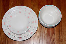 Corelle Forever Yours Pink Hearts PICK Dinner Lunch Bread Plates Cereal Bowls
