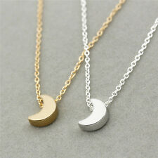 Women Fashion Silver Gold Chain Crescent Moon Delicate Pendant Necklace Jewelry