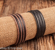 Fashion Women Men Surfer Tribal Wrap Multilayer Genuine Leather Cuff Bracelet
