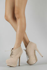 Nude Beige Faux Suede Lace Up Almond Toe High Heel Platform Ankle Boot Bootie