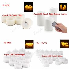 12/24 PCS LED Tea Light Flameless Candles White For Wedding Party Chrismas Decor