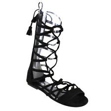 Soda IA13 Women's Lace Up Strappy Tassel Criss Cross Gladiator Flat Sandals