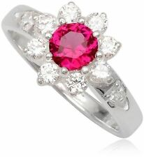 Simulated Ruby Ring Red Flower 925 Sterling Silver