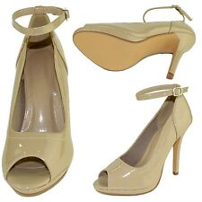 Womens Peep Toe Stiletto High Heel Pumps w/ Ankle Strap Taupe Size 5.5-10