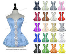Full Steel Boned Heavy Lacing Satin Overbust Shaper Corset Skirt Set #H8417-B-SA