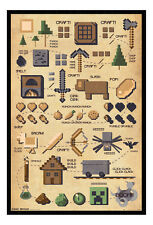 Minecraft Pictograph Framed Cork Pin Notice Board With Pins