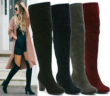 LADIES LONG THIGH HIGH MID BLOCK HEEL OVER THE KNEE HIGH FOLD COLLAR ZIP BOOTS