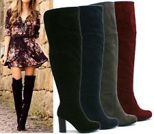LADIES WOMENS THIGH HIGH OVER THE KNEE MID HIGH HEEL PLATFORM STRETCHY ZIP BOOTS