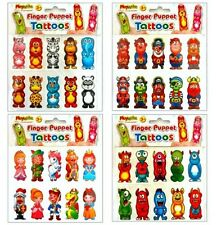 Sheet of 10 Finger Puppet Temporary Tattoos – Kids Party Loot Bag Filler