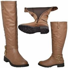 Womens Faux Leather Knee High Riding Boots w/ Gold Buckle Accent Camel Sz 5.5-10
