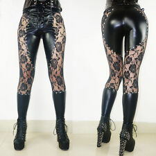 Women Sexy Pants Faux Leather+Lace Skinny Stud Nightclub Punk Cool Gothic Pants