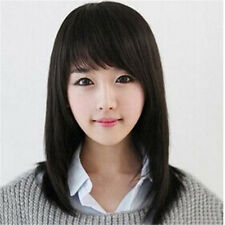 Women Girl's Medium Straight 50%Human Hair Party Cosplay Full Wigs + Cap PO185