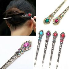 Women Vintage Double Side Metal Hairclip Crystal Rhinestone Charms Hair Clip Pin