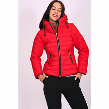 Womens RED Quilted Padded Puffer Bubble Fur Collar Warm Thick Jacket Coat Ladies